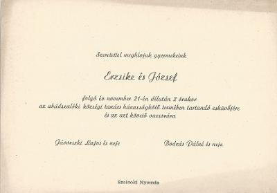 Erzsike és József esküvői meghívója