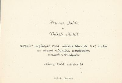 Hamar Jolán és Pászti Antal esküvői meghívója