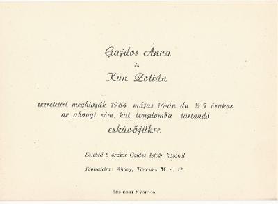 Gajdos Anna és Kun Zoltán esküvői meghívója