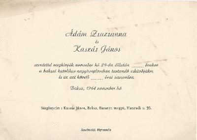 Ádám Zsuzsanna és Kaszás János esküvői meghívója