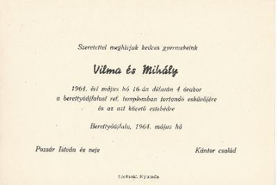 Pozsár Vilma és Kántor Mihály esküvői meghívója