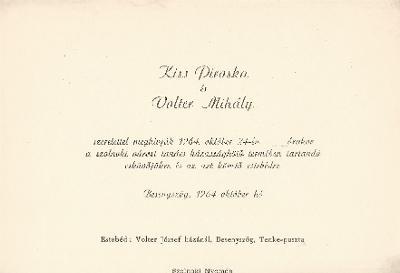 Kiss Piroska és Volter Mihály esküvői meghívója