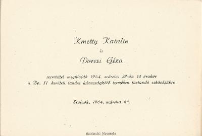 Kmetty Katalin és Dorcsi Géza esküvői meghívója