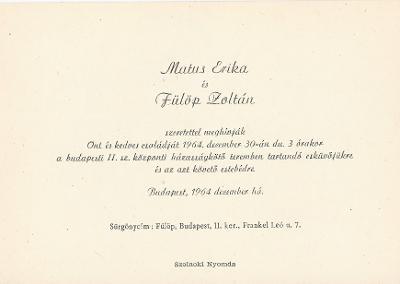 Matus Erika és Fülöp Zoltán esküvői meghívója