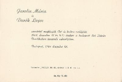 Jarolin Mária és Darók Lajos esküvői meghívója