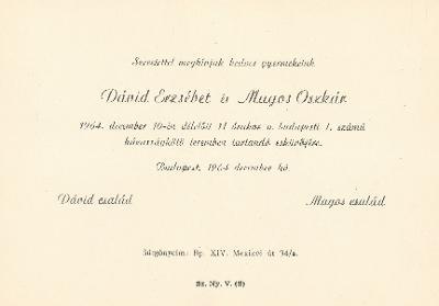 Dávid Erzsébet és Magos Oszkár esküvői meghívója