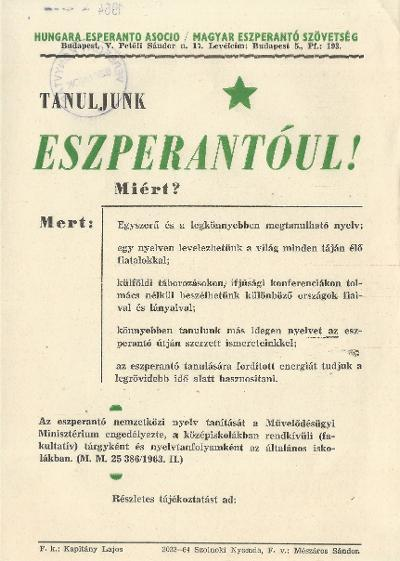 Tanuljunk eszperantóul!