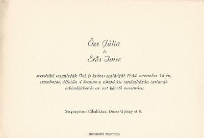 Őze Júlia és Erős Imre esküvői meghívója
