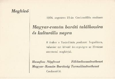 Magyar-román baráti találkozó és kulturális nap