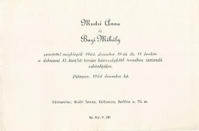 Mudri Anna és Bagi Mihály esküvői meghívója