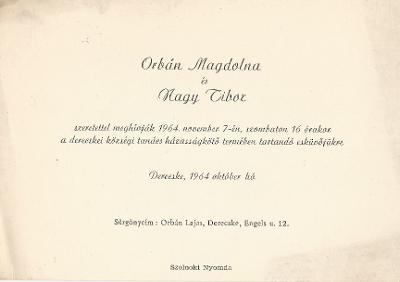 Orbán Magdolna és Nagy Tibor esküvői meghívója