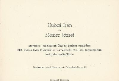 Hubai Irén és Mester József esküvői meghívója