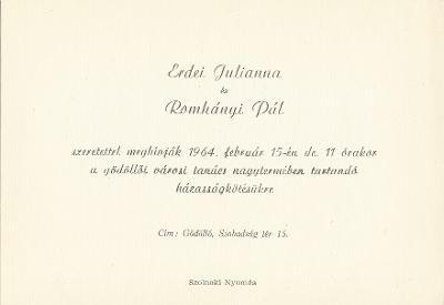 Erdei Julianna és Romhányi Pál esküvői meghívója