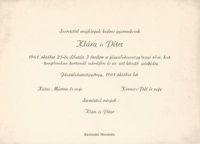 Kátai Klára és Kormos Péter esküvői meghívója