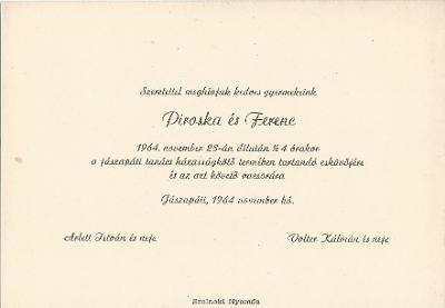 Arlett Piroska és Volter István esküvői meghívój