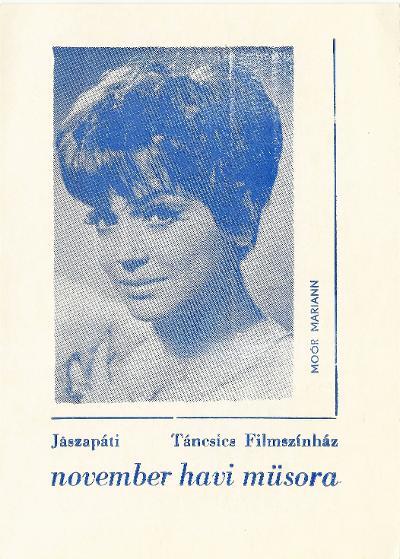 Jászapáti Táncsics Filmszínház 1964. november havi műsora