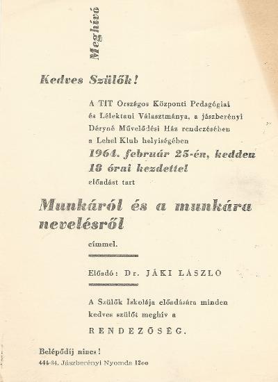 """Előadás a """"Munkáról és a munkára nevelésről"""". Előadó: Dr. Jáki László."""