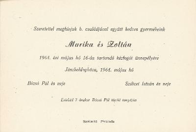 Bózsó Marika és Szilicei Zoltán esküvői meghívója