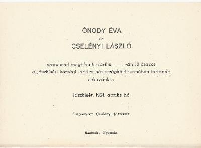 Ónody Éva és Cselényi László esküvői meghívója