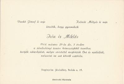 Dankó Irén és Kalmár Miklós esküvői meghívója