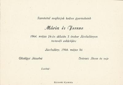 Oltvölgyi Mária és Drávucz Ferenc esküvői meghívója