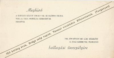 Karcagi Kálvin utcai 9. sz Általános Iskola ballagási meghívója