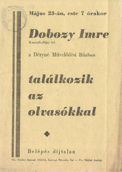 Találkozás Dobozy Imre Kossuth-díjas íróval