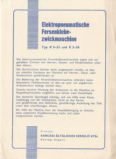 Karcagi Általános szerelő KTSz - Elektropneumatische Fersenklebezwickmaschine