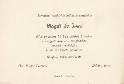 Polgár Magdi és Dékány Imre esküvői meghívója