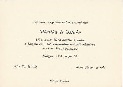 Kiss Rózsika és Sípos István esküvői meghívója