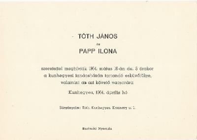 Tóth János és Papp Ilona esküvői meghívója