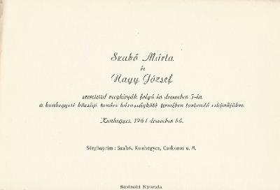 Szabó Márta és Nagy József esküvői meghívója