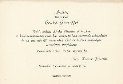 Kurucz Mária és Czakó József esküvői meghívója