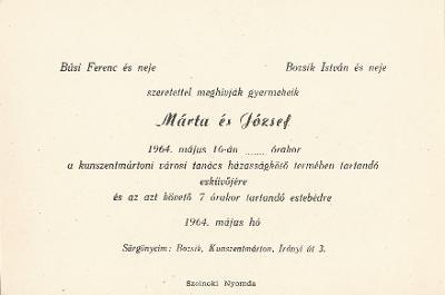 Búsi Márta és Bozsik József esküvői meghívója