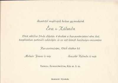Molnár Éva és Szaszkó Kálmán esküvői meghívója