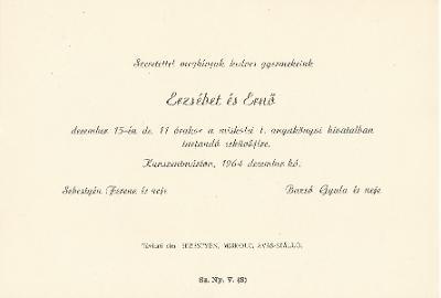 Sebestyén Erzsébet és Bazsó Ernő esküvői meghívója