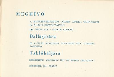 Kunszentmártoni József Attila Gimnázium ballagási meghívója