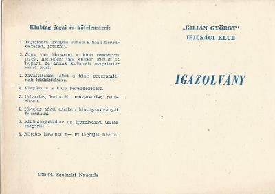 Kilián György Ifjúsági Klub Igazolványa