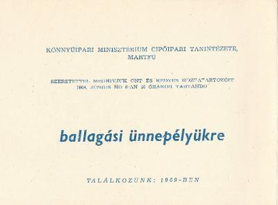 Könnyűipari Minisztérium Cipőipari Tanintézetének ballagási meghívója