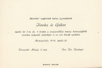Kézsmárki Ilona és Kiss Gábor esküvői meghívója