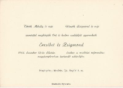 Török Erzsébet és Németh Zsigmond esküvői meghívója