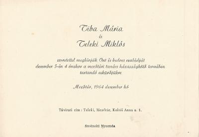 Tiba Mária és Teleki Miklós esküvői meghívója