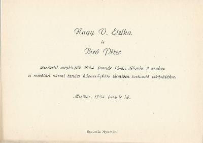 Nagy V. Etelka és Bíró Péter esküvői meghívója