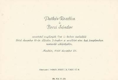 Patkós Rozália és Borsi Sándor esküvői meghívója