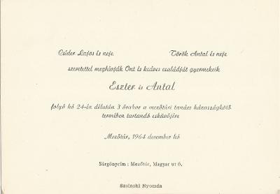 Csíder Eszter és Török Antal esküvői meghívója