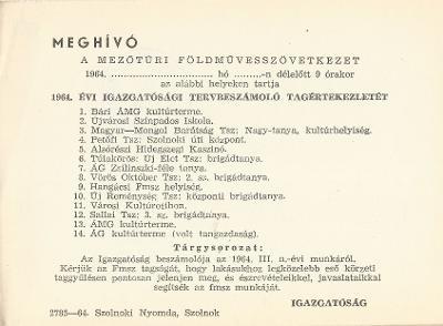 Meghívó a mezőtúri Földművesszövetkezet 1964. évi igazgatósági tervbeszámoló tagértekezletére
