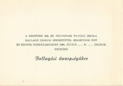 Mezőtúri 626. számú Helyiipari tanuló Iskola ballagási meghívója