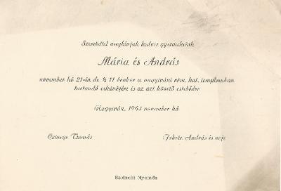 Czinege Mária és Fekete András esküvői meghívója