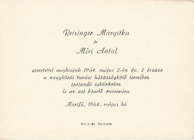 Reisinger Margit és Méri Antal esküvői meghívója