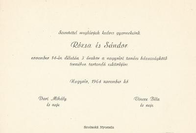 Dari Rózsa és Vincze Sándor esküvői meghívója